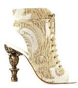 Chanel香奈儿2013早春度假系列华丽金色编织绣花雕塑后跟短靴