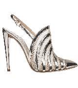 Emporio Armani安普里奥阿玛尼银色条纹高跟鞋