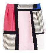 Kate Spade2013春季Pop of color系列Barry果汁冰沙色系几何图案拼接半裙