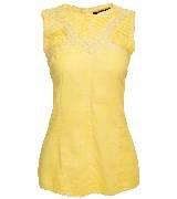 KOOKA 2013年春夏黄色蕾丝拼接无袖上衣