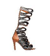 巴黎世家(Balenciaga)2013早春茶色绷带长款高跟罗马鞋