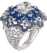 CHUAMET尚美巴黎Hortensia高级珠宝系列白金蓝色戒指