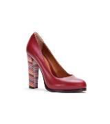 Fendi红色牛皮粗跟高跟鞋