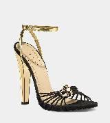 GUCCI黑色金色镂空高跟凉鞋