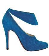 Christian Louboutin蓝色仿麂皮高跟鞋