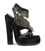 Givenchy金拉链黑色高跟凉鞋