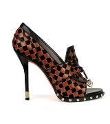 Givenchy2013早春系列黑咖色哑面编织图案小牛皮鱼嘴乐福鞋