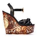 Dolce&Gabbana杜嘉班纳2014春夏系列棕黑色坡跟凉鞋