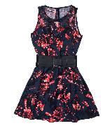 GUESS盖尔斯黑色印花无袖连衣裙