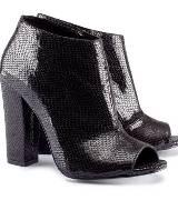 H&M黑色蛇纹鱼嘴鞋