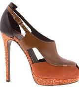 阿尔伯特-菲尔蒂橙色鱼嘴高跟鞋