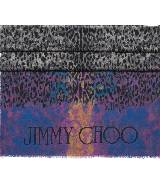 Jimmy Choo豹纹蓝灰色渐变真丝围巾