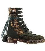 Chanel香奈儿卡其色麂皮黄色花呢短靴