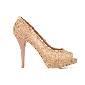 D&G粉色蕾丝露趾高跟鞋