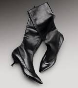 Bottega Veneta葆蝶家黑色牛皮短靴