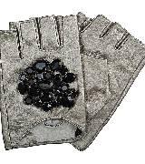 Karl Lagerfeld卡尔•拉格斐朋克系列水晶缀饰皮质手套