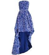 Dior蓝色褶皱花纹小礼服