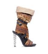 Balenciaga棕红色蛇皮高跟鞋