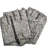 Karl Lagerfeld卡尔•拉格斐朋克系列银色拉链皮质手套