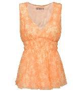 KOOKA 2013年春夏橙色印花V领无袖上衣