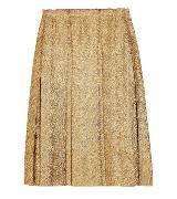 Lanvin浪凡金属感斜纹软呢褶饰裙