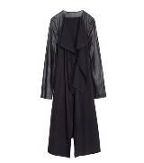 Anteprima黑色拼接皮袖羊毛大衣