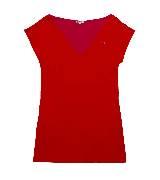 Lacoste 红色V领T恤