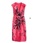 Miu Miu粉色黑花连衣裙