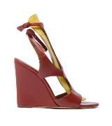 Balenciaga棕红色皮革坡跟鞋