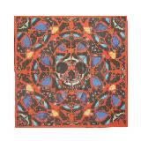 Alexander McQueen亚历山大•麦昆Damien Hirst合作系列PSALM 113红色骷髅头蝴蝶图案丝巾