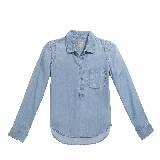 GUESS盖尔斯浅蓝色长袖牛仔T恤