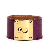 芬迪Fendi铜扣饰紫色皮革手镯