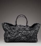 Bottega Veneta葆蝶家黑色方形牛皮手提包
