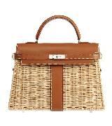 Hermes爱马仕棕色编织包