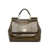D&G橄榄绿皮革手提包