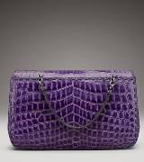 Bottega Veneta葆蝶家紫色鳄鱼皮手提包