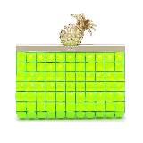 Kate Spade荧绿色闪石与菠萝扣饰手持包