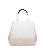 巴黎世家(Balenciaga)2013早春淡粉拼白帆布单肩包