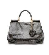 D&G黑色蛇皮手提包