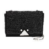 Emporio Armani2013秋冬系列黑色柳钉金属搭扣方形晚宴包