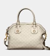Gucci古驰白色牛皮手提包