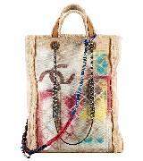 Chanel香奈儿2014春夏高级成衣系列涂鸦印花帆布购物袋