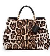 D&G豹纹毛皮手提包