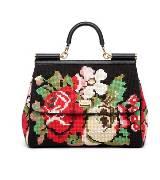 D&G黑色刺绣印花手提包