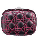 Dior迪奥Christian Dior黑色圆形羊皮桃红绗缝手拿包