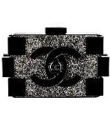 Chanel香奈儿黑色水晶装饰树脂玻璃化妆盒
