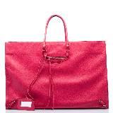 巴黎世家Balenciaga玫红色皮革拎包