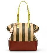 芬迪Fendi棕色条纹拎包