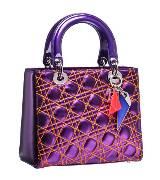 Dior迪奥Christian Dior荧光紫绗缝羊皮手提包
