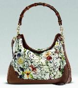 Gucci Flora系列 竹节手柄印花提包